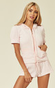Top and Shorts Velour Tracksuit Set in Baby Pink by CY Boutique