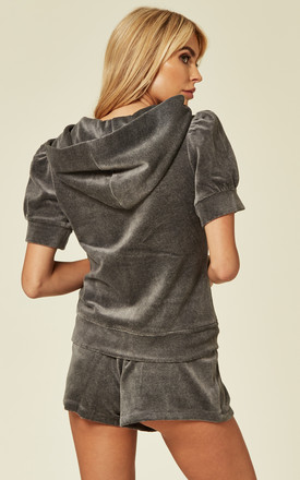 Top and Shorts Velour Tracksuit Set in Grey by CY Boutique
