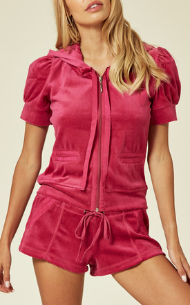 Top And Shorts Velour Tracksuit Set In Hot Pink by CY Boutique
