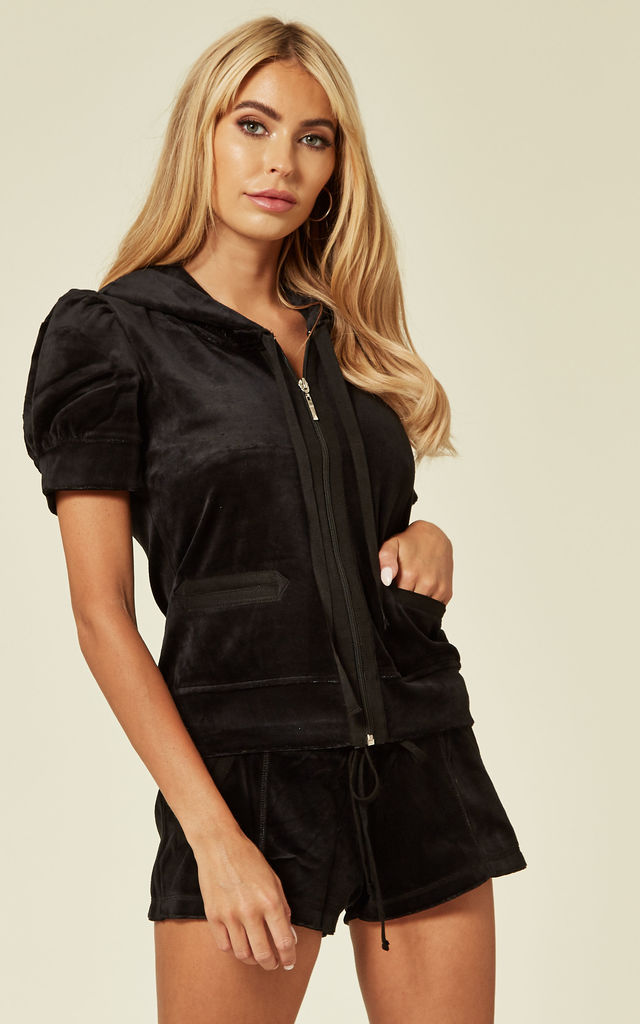Black Top and Shorts Velour Tracksuit Set by CY Boutique