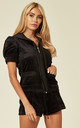 Top and Shorts Velour Tracksuit Set in Black by CY Boutique