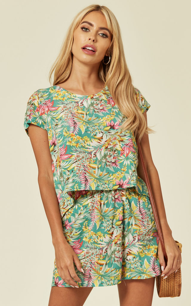 T-shirt and Shorts Co-ord Set in Summer Tropical Print by CY Boutique
