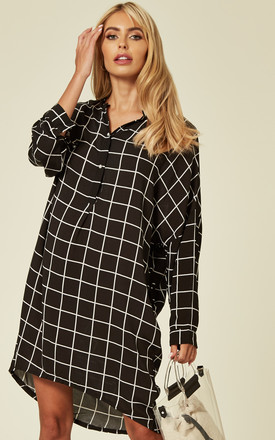 Long Sleeve Shirt Dress In Black And White Check by CY Boutique Product photo