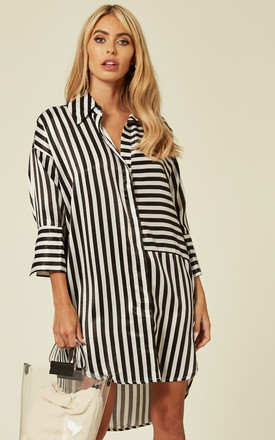 Oversized Shirt Dress In Black And White Stripe by CY Boutique Product photo