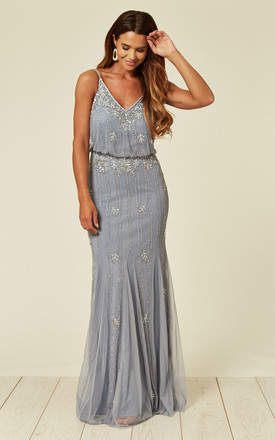 Keeva Maxi Dress In Light Blue by Lace & Beads Product photo