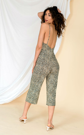Backless Loungewear Jumpsuit in Leopard Print by HAUS OF DECK