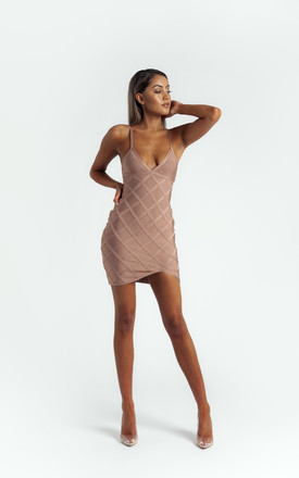 The 'Delyla' Strappy Bandage Mini Dress In Nude by Made By Issae Product photo