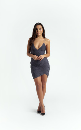 The 'Delyla' Strappy Bandage Mini Dress In Grey by Made By Issae Product photo