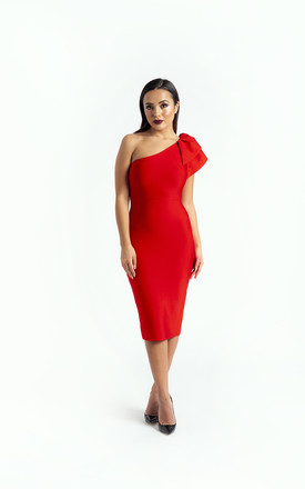 The 'Carmen' One Shoulder Bandage Midi Dress In Red by Made By Issae Product photo
