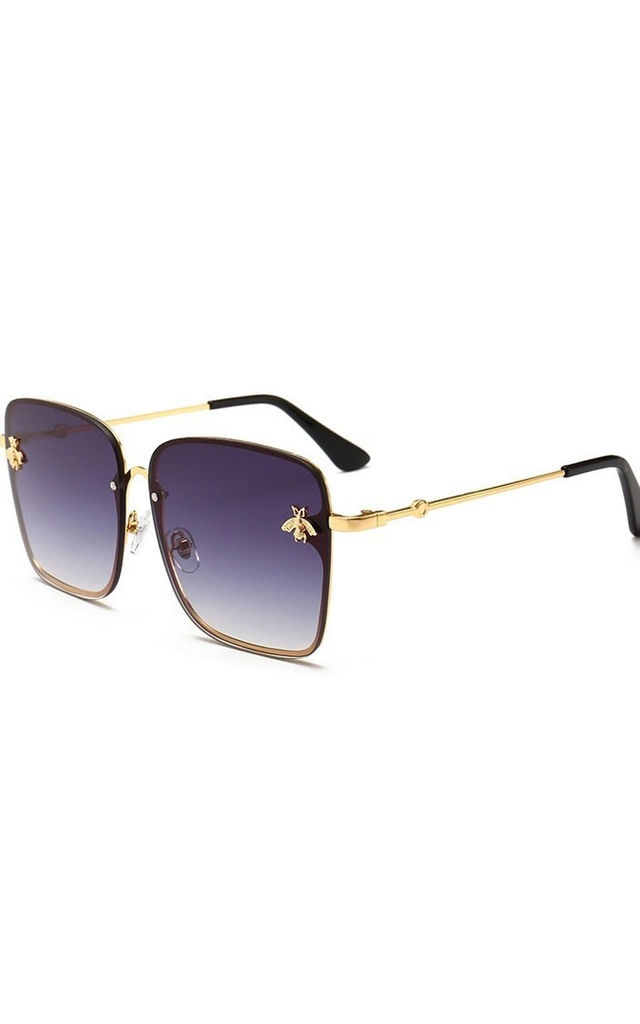 Oversized Bee Square Sunglasses in Black/Gold by Urban Mist