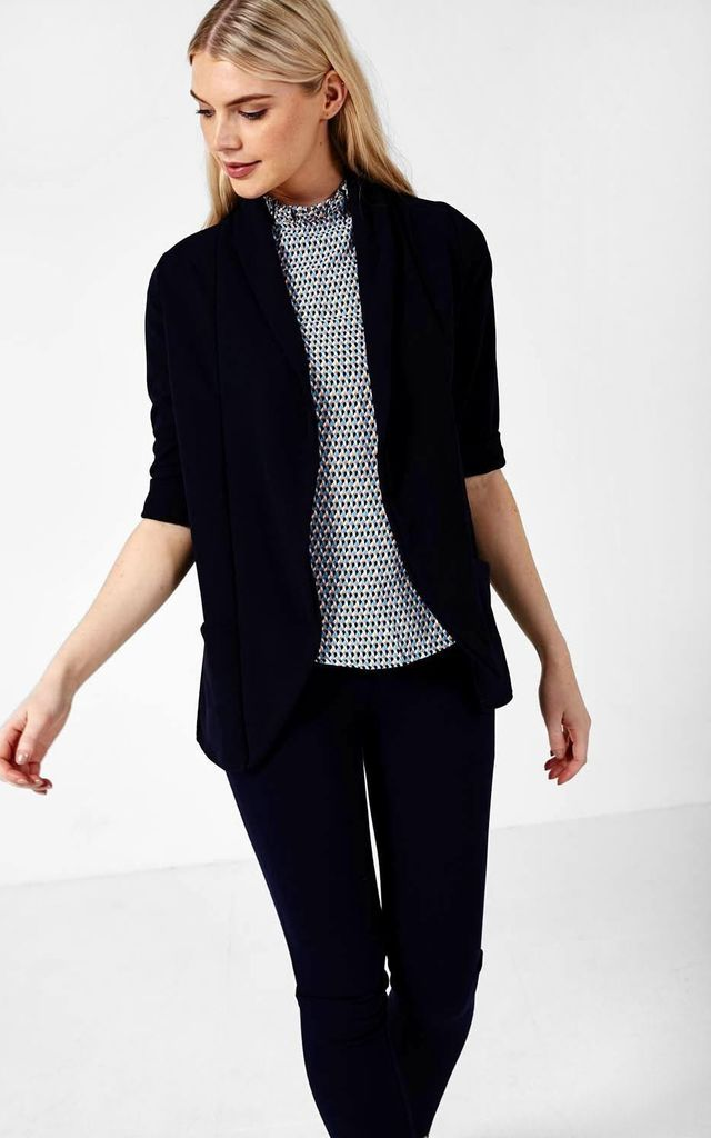 Ciara 3/4 Sleeves Jacket in Navy by Marc Angelo