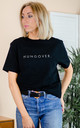 Hungover Slogan T-Shirt - Organic Cotton Black Top by Rock On Ruby