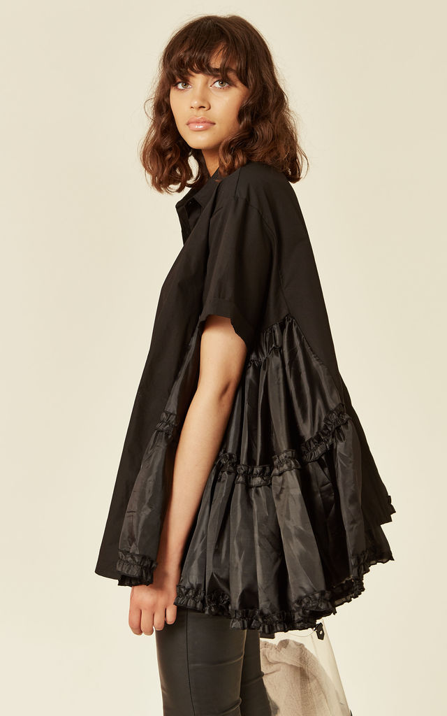 Oversized Short Sleeve Shirt with Frill Detail on Side in Black by CY Boutique