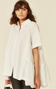 Oversized Short Sleeve Shirt with Frill Detail on Sides in White by CY Boutique