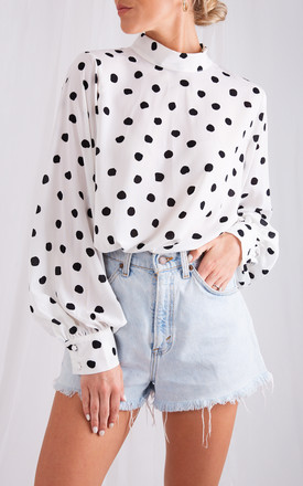 Ambre Blouse    Monochrome Polka Dot by Pretty Lavish Product photo