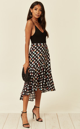 Satin High Low Midi Skirt In Polka Dot And Floral Print by D.Anna Product photo