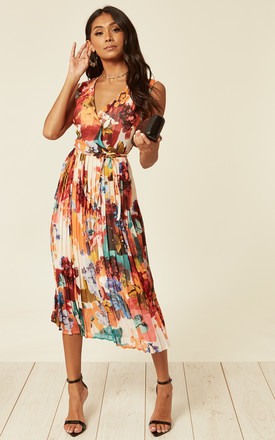 d3dceb2e5d8b3e Sleeveless Pleated Midi Dress In Multicolour Product photo