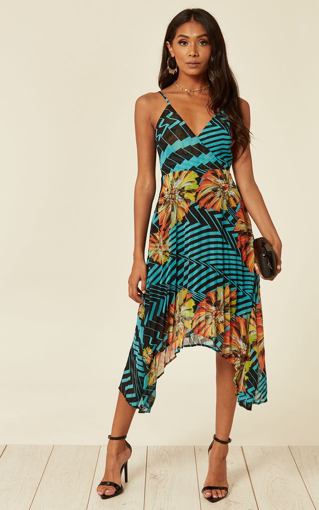 Pleated asymmetric midi dress in tropical print by D.Anna