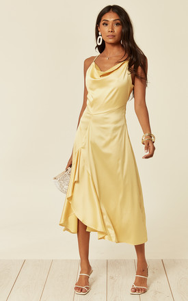 595aadae85af Satin cowl neck midi dress with frill split and tie back in Yellow by D.