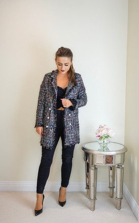 Tweed Longline Jacket With Pearl Detailing by Styled Clothing Product photo