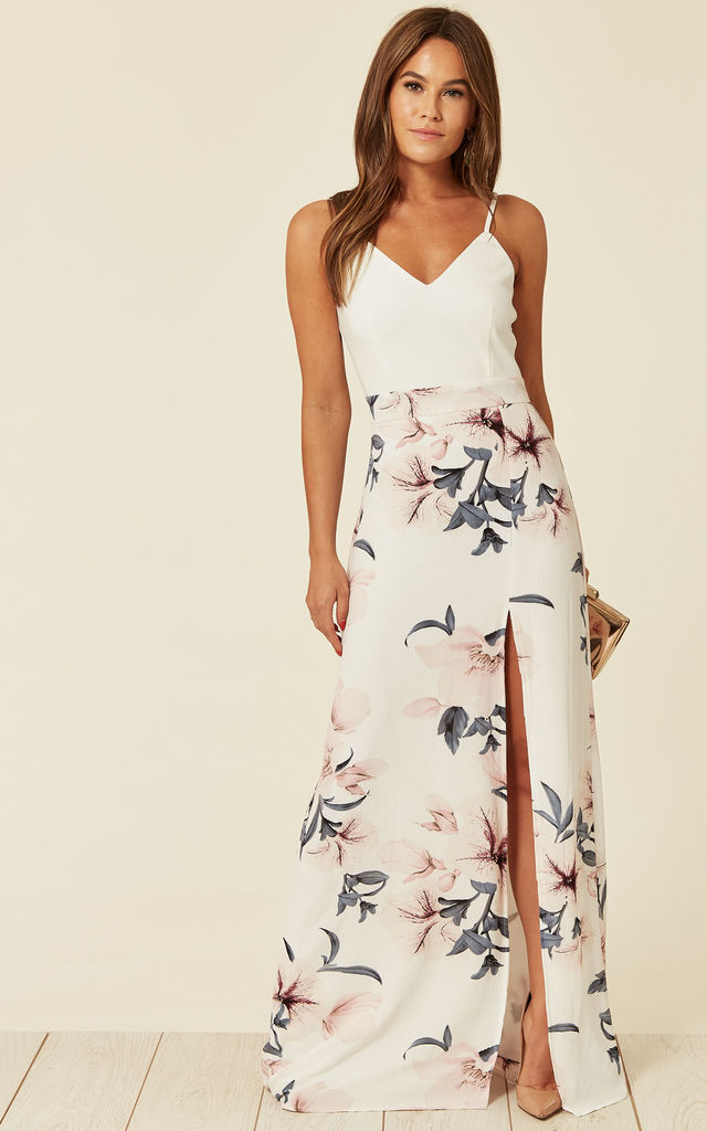 2c723831c7 Farah White Floral Cami Split Maxi Dress | Girl In Mind | SilkFred