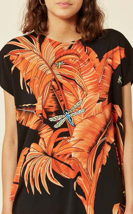 Short Sleeve T-Shirt with Orange Palm Leaf Design by CY Boutique
