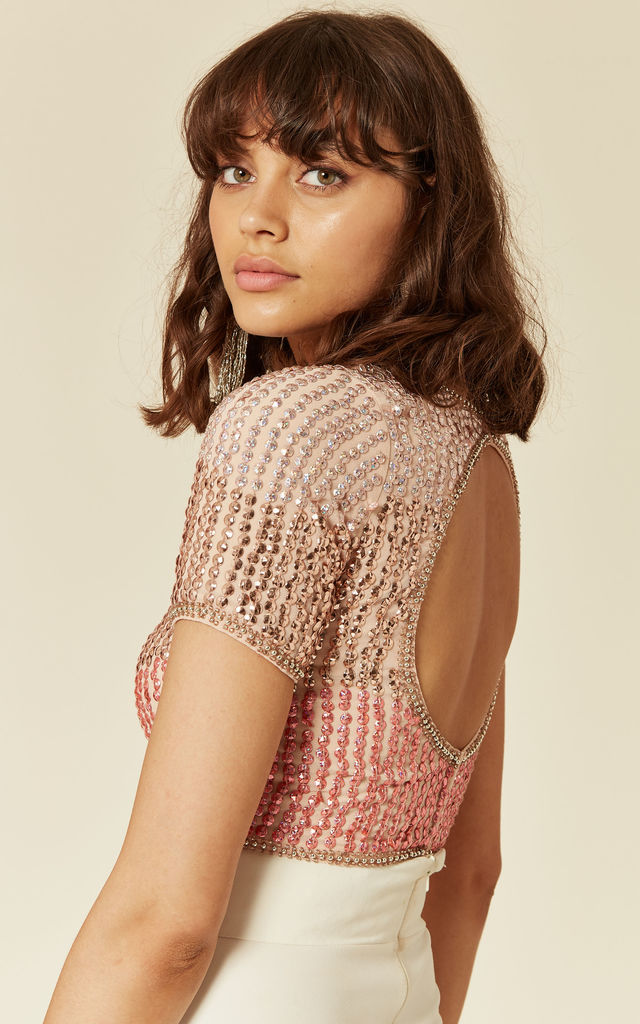 Dotty Sequin Crop Top in Pink by Lace & Beads