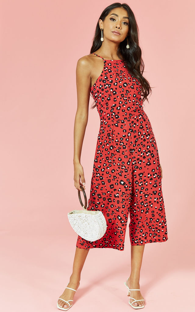 Sleeveless Culotte Jumpsuit in Red Leopard by Glamorous
