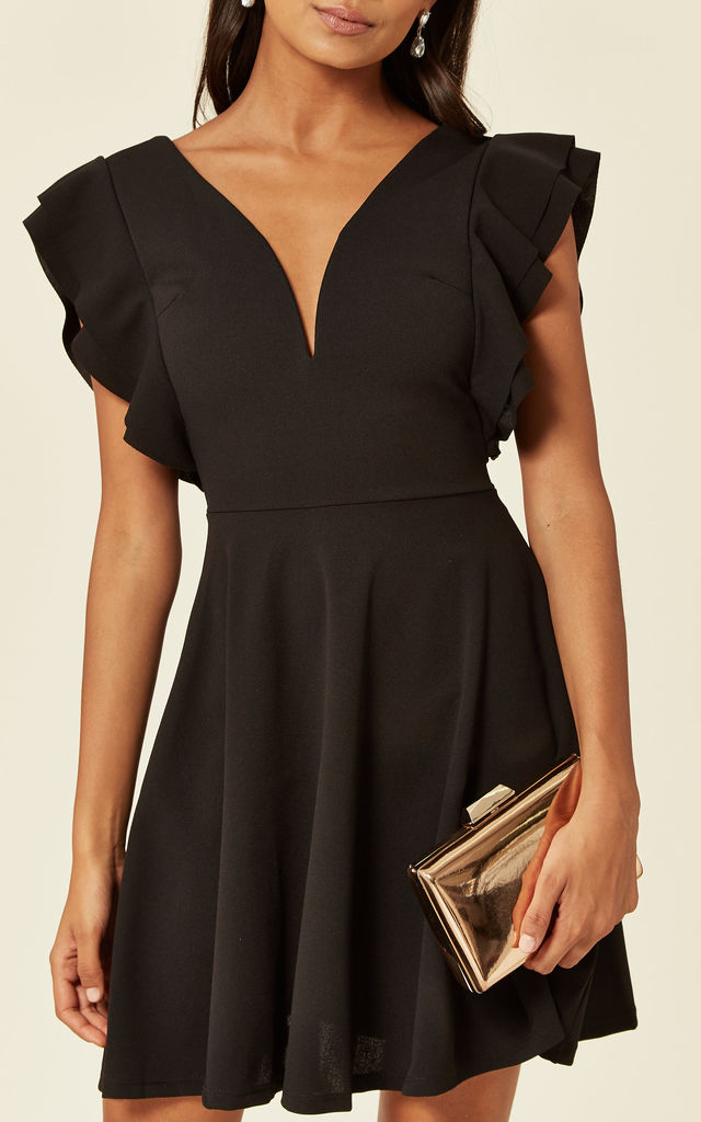 Loraine Black Plunge V Neck Ruffle Sleeve Mini Dress by WalG
