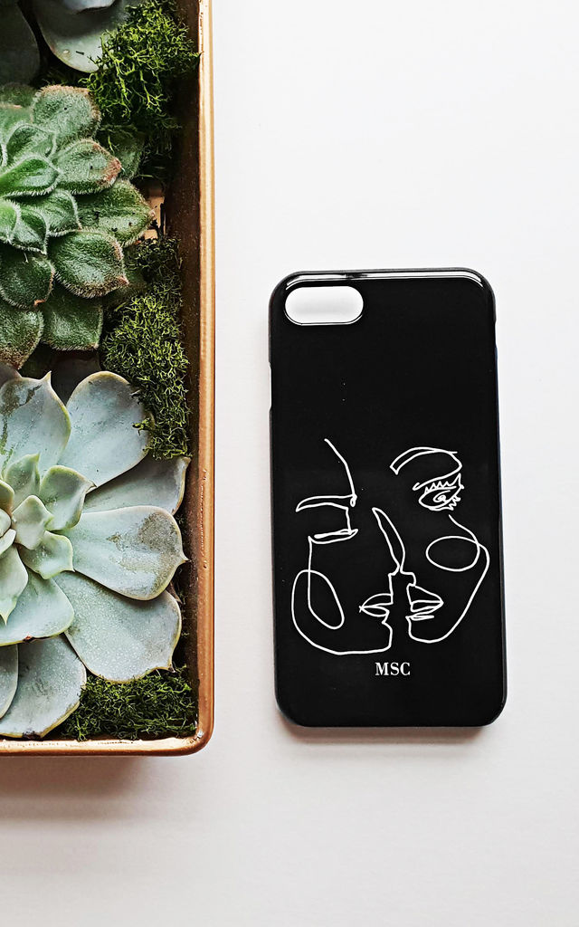 Abstract line art black and white personalised phone case by Rianna Phillips