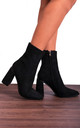 Black Faux Suede Block High Heeled Ankle Boots by Shoe Closet