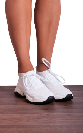 White Knitted Sock Style Chunky Sole Lace Ups Trainers by Shoe Closet