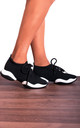 Black Knitted Sock Style Chunky Sole Lace Ups Trainers by Shoe Closet