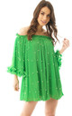Off Shoulder Floaty Pleated Tunic with Pearl Detail in Green by Urban Mist