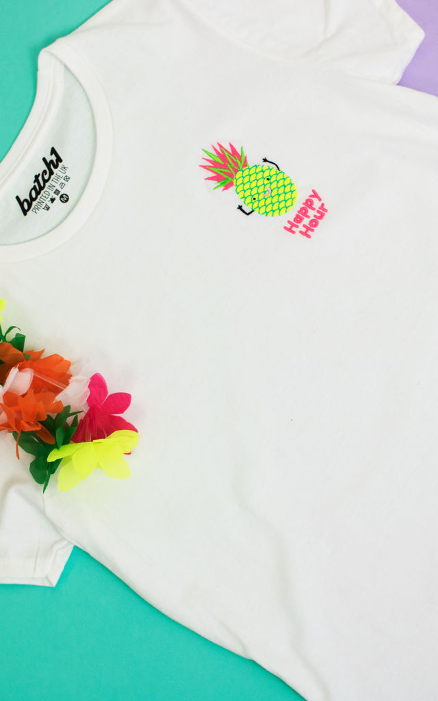 'Happy Hour' Embroidered T Shirt in White with Neon by Batch1