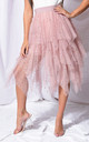 High waisted tiered tulle star sequin skirt pink by LILY LULU FASHION