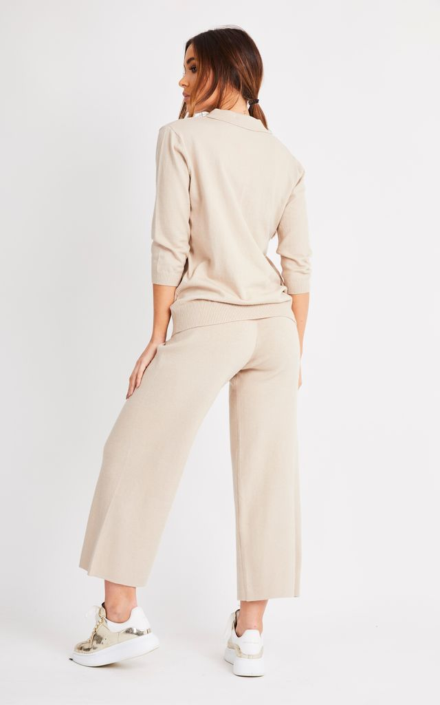 Beige Knitted Culotte Co Ord by London End