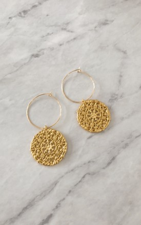 Large Gold Discs Gold Plated Hoop Earrings by Gold Lunar
