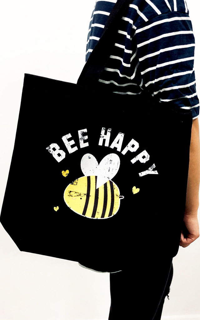 'Bee Happy' Canvas Tote Bag in Black by Batch1