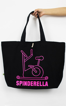 'Spinderella' Oversized Slogan Tote Bag in Black and Neon Pink by Batch1