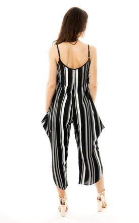 Black and White Striped Print Cami Harem Jumpsuit by Urban Mist