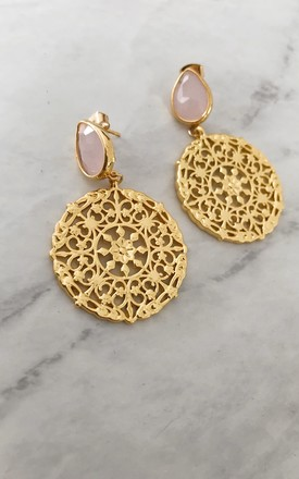 Statement Pink Stone & Disc Drop Earrings by Gold Lunar