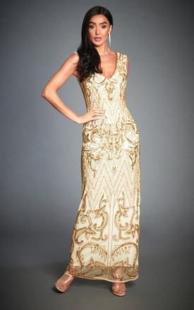 Angie Gold Embellished 20s Gatsby Evening Maxi Dress by Jywal