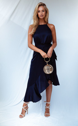 Ariana Navy Satin Halter Frill Dress by Style Cheat Product photo