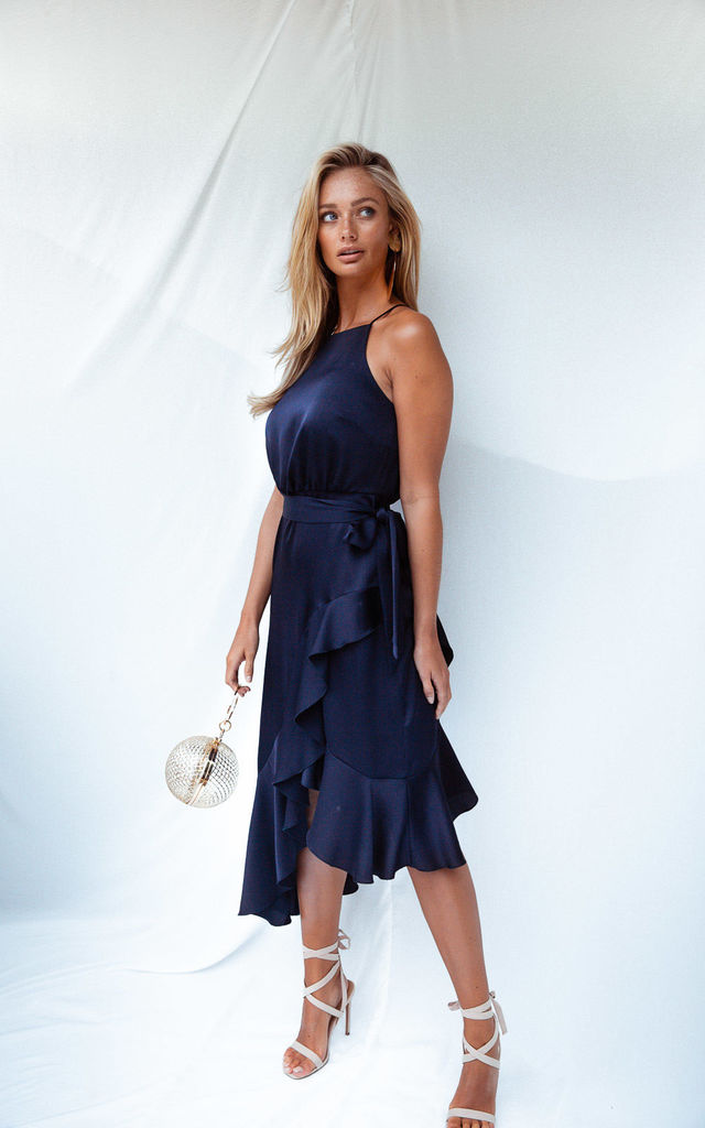 ARIANA NAVY SATIN HALTER FRILL DRESS by Style Cheat