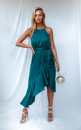 Ariana Teal Satin Halter Frill Dress by Style Cheat Product photo