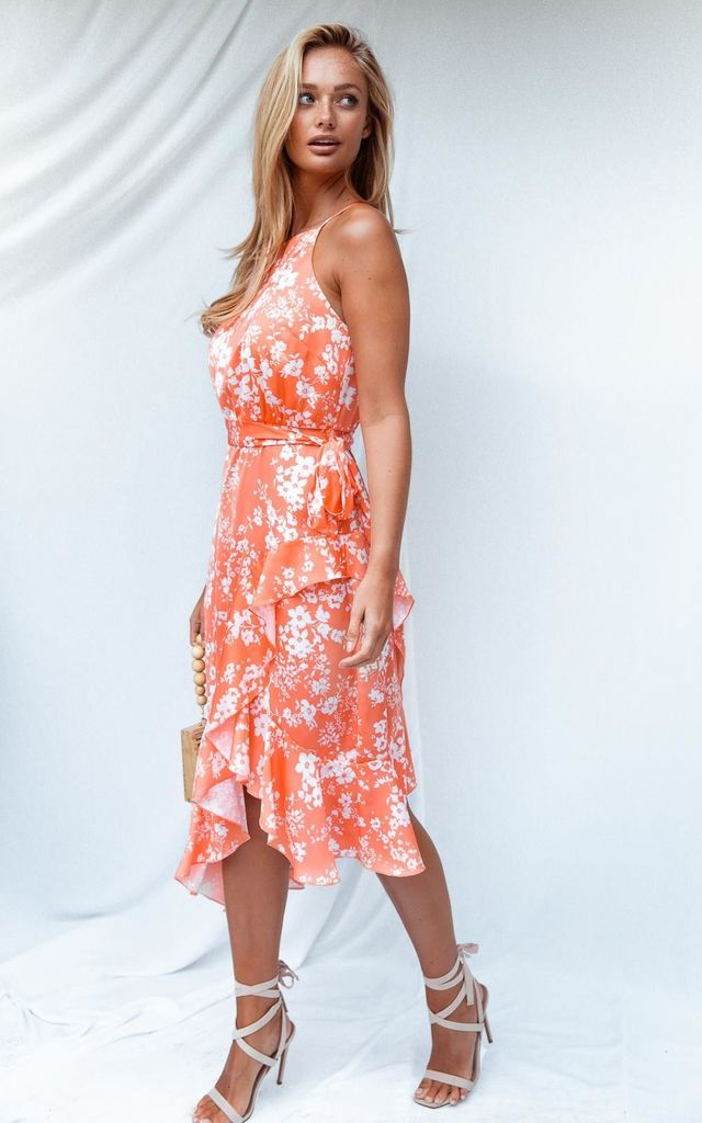 Ariana Orange Floral Halter Frill Dress by Style Cheat