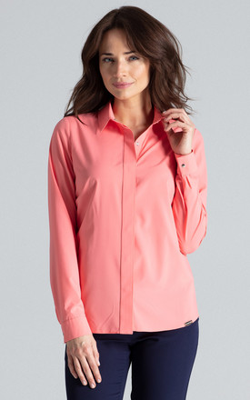 Coral Classic Shirt With a Collar by LENITIF