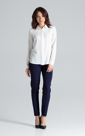 Ecru Classic Shirt With a Collar by LENITIF