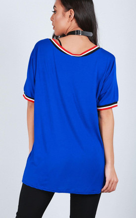 Blue Vneck Sporty Striped Oversized Tshirt by Oops Fashion